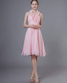Short Halter Ruffles Chiffon Knee Length Wedding Party Bridesmaid Dresses