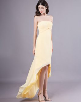 Short High Low Chiffon Twisted Asymmetrical Prom Bridesmaid Dresses