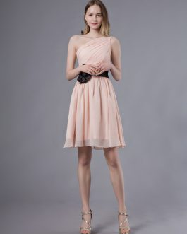 Short One Shoulder Chiffon Bow Sash Wedding Party Bridesmaid Dresses