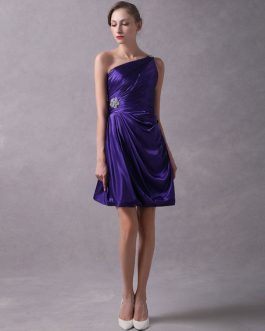 Short One Shoulder Pleated Beaded Bridesmaid Dresses