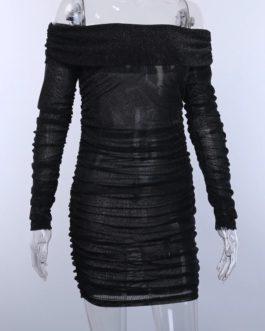 Slim Draped Elegant Slash Neck Bodycon Club Party Dress