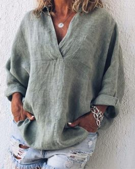 Solid Color V-neck Loose Fashion Long Sleeve Casual Tops