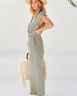 Solid Sash Belt Long Loose Streetwear Office Jumpsuit