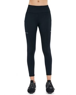 Solid Side Pocket Wide Belt Skinny Elastic Workout Leggings