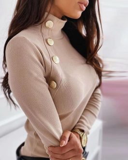 Stand Collar Metal Buttons Long Sleeve Solid Ribbed Knitted Blouse