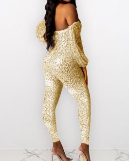Strapless Long Sleeves Sequins Backless Polyester Playsuit