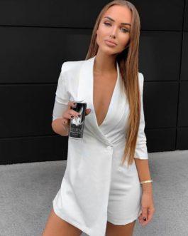 Streetwear Half Sleeve V Neck Button Blazer Jumpsuit