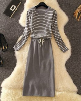 Striped Casual Sweater And Pencil Skirt Set