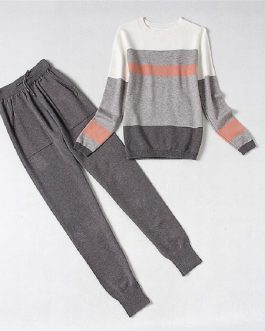 Striped Long-sleeved Jumper And Trousers Sets