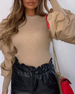 O-Neck Fashion Rivet Long Sleeve Slim Fit Blouse