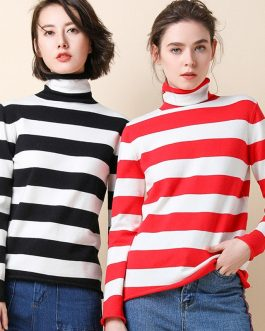 Turtleneck Knit Pullover Stretch Warm Stripes Sweater