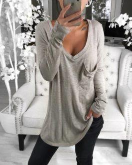 V-Neck Pocket Long Sleeve Casual Solid Loose T-shirt