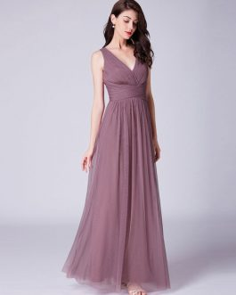 V Neck Tulle Pleated A Line Long Prom Bridesmaid Dresses