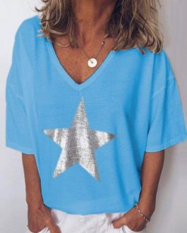 V-neck Fashion Five-pointed Star Short Sleeve Casual Blouse