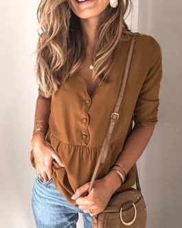 V-neck Long Sleeve Button Elegant Loose Ruffled Blouses