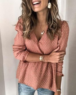 V-neck Long Sleeve Polka Dot Elegant Loose Ruffled Blouses