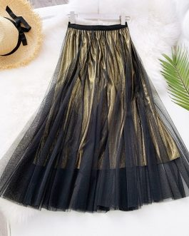 Vintage Shinning Pleated Midi Skirt