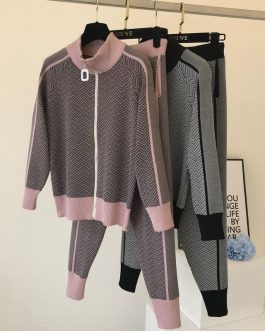 Zipper Design Cardigans And Pant Sports Set