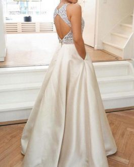 A Line Jewel Neck Satin Fabric Sleeveless Beaded Wedding Guest Dresses
