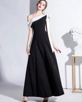 A Line One Shoulder Ankle Length Bows Party Dresses