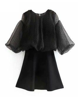 A Line Puff Sleeve Fashion Patchwork Mini Dress