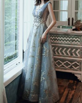 A Line Sleeveless Floor Length Jewel Neck Lace Appliqued Formal Occasion Dresses