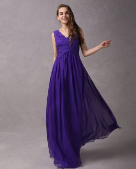A-Line V-neck Wrapped Bodice Floor-length Chiffon Bridesmaid Dress
