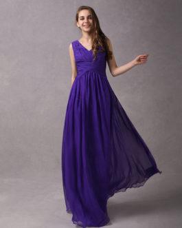 A-Line V-neck Wrapped Bodice Floor-length Chiffon Bridesmaid Dress