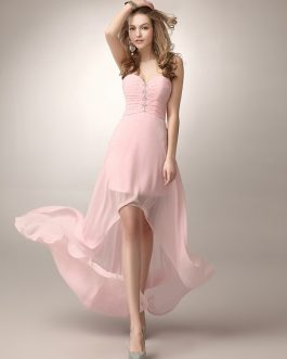 A-line Beading Chiffon Bridesmaid Dress With Sweetheart Neck