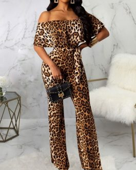 Animal Print Bateau Neck Short Sleeves Lace Up Open Shoulder Suede Flared Playsuit