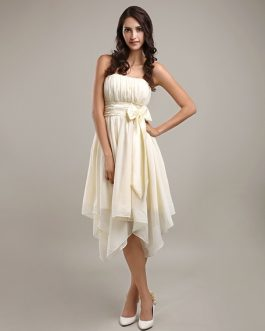 Asymmetrical Pleated Bridesmaid Dress