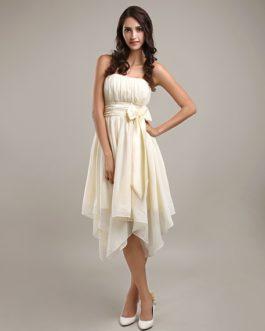 Asymmetrical Pleated Bridesmaid Dress
