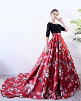Prom Dresses Floral Print Quinceanera Dress Backless Lace Satin Chapel Train Women Pageant Dress