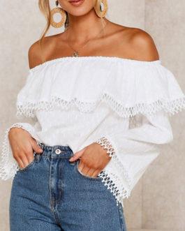Bardot Tops Long Sleeves Ruffles Off The Shoulder Tops
