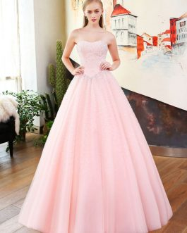 Beading Princess Pageant Strapless Soft Tulle Quinceanera Dress