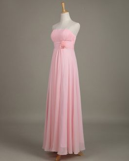 Blush Strapless Backless Chiffon Draped Flower A Line Long Wedding Party Bridesmaid Dress