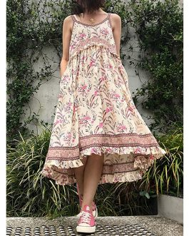 Bohemian Floral Strapless Sleeve Print Beach Holiday Midi Dress