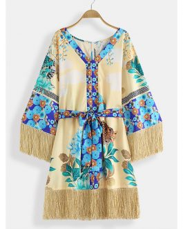 Bohemin Floral Bandage Print Tassel Patch Beach Dress