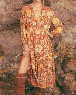 Boho Dress V Neck Long Sleeves Floral Print Oversized Beach Dress