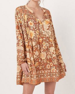 Boho Dress V Neck Long Sleeves Floral Print Oversized Shift Dress