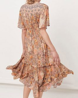 Boho Dress V Neck Short Sleeves Floral Print Oversized Beach Dress
