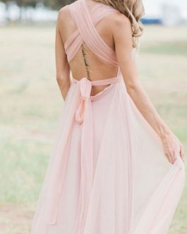 Bridesmaid Dress A Line Floor Length Backless Chiffon Prom Dress