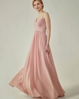 Bridesmaid Dress A Line Floor Length Straps Chiffon Pleated Wedding Party Dress