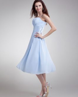 Bridesmaid Dress Chiffon Spaghetti Strap Ruched Waist A Line Prom Dress