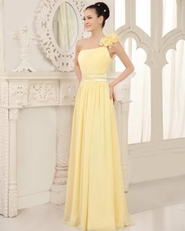 Bridesmaid Dress One Shoulder Chiffon Flowers Straps Pleated Floor Length Wedding Party Dresses