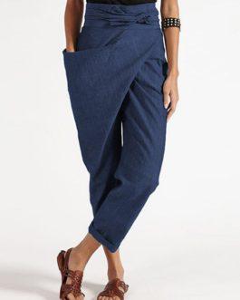 Casual Belt Harem Pants Irregular  Zipper Loose Trousers