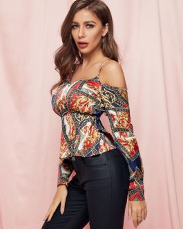 Casual Blouse Floral Print One Shoulder Long Sleeves Polyester Tops