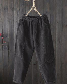 Casual Corduroy Pants Loose Elastic Waist Harem Trousers