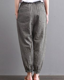 Casual High Drawstring Waist Plaid Check Long Harem Pants