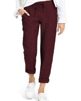 Casual Pure Color Elastic Waist Side Pockets Trouser Pants